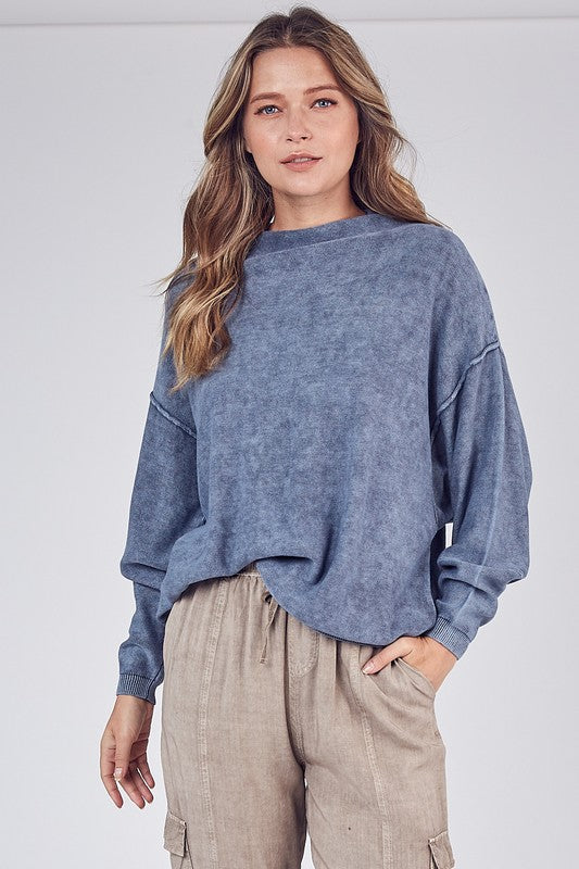 Faded Denim Brushed Knit Sweater