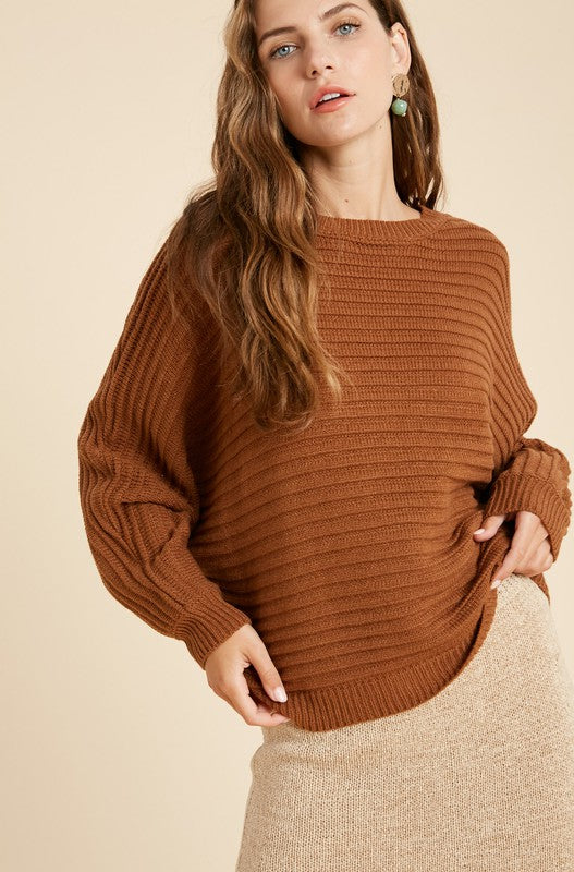 Slouchy Ribbed Sweater- Rust