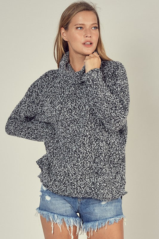 White/Black Turtle Neck Sweater