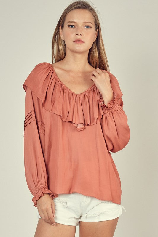 Ruffle V-Neck Top - Spice