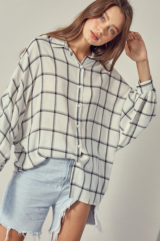 Dolman Plaid Top- White