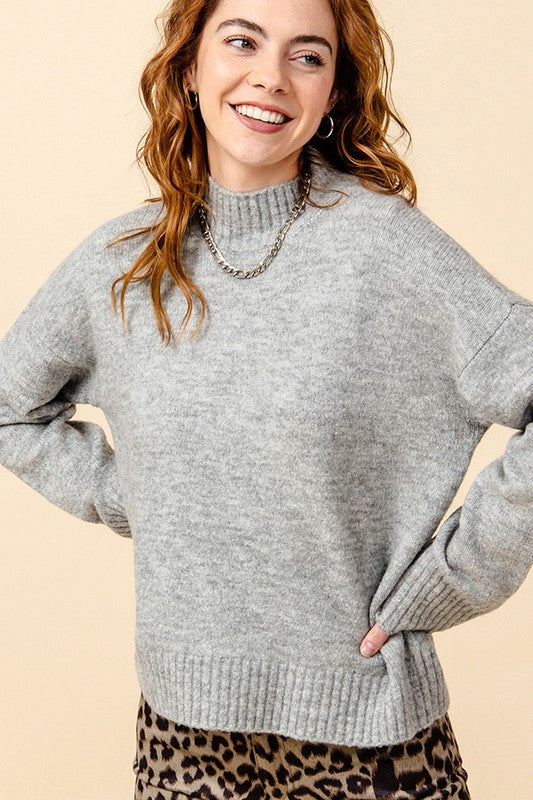 Sweet Caroline Sweater- Heather Grey