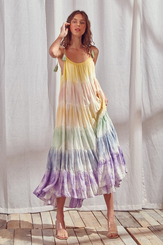 Rainbow Tie Dye Maxi Dress