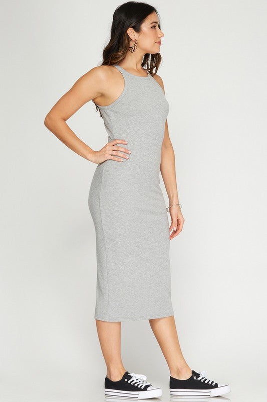 Rib Fitted Midi Dress - Grey