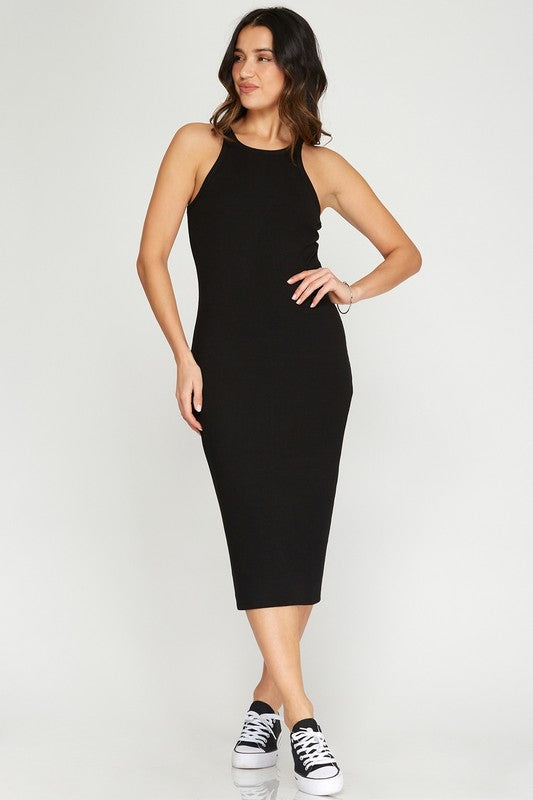 Rib Fitted Midi Dress - Black