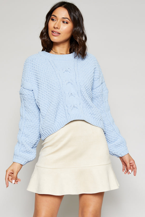 Azalea Crop Sweater - Dream Blue
