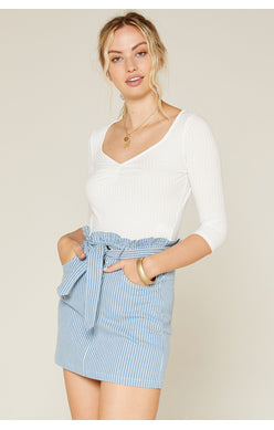 No Doubts Denim Stripe Skirt