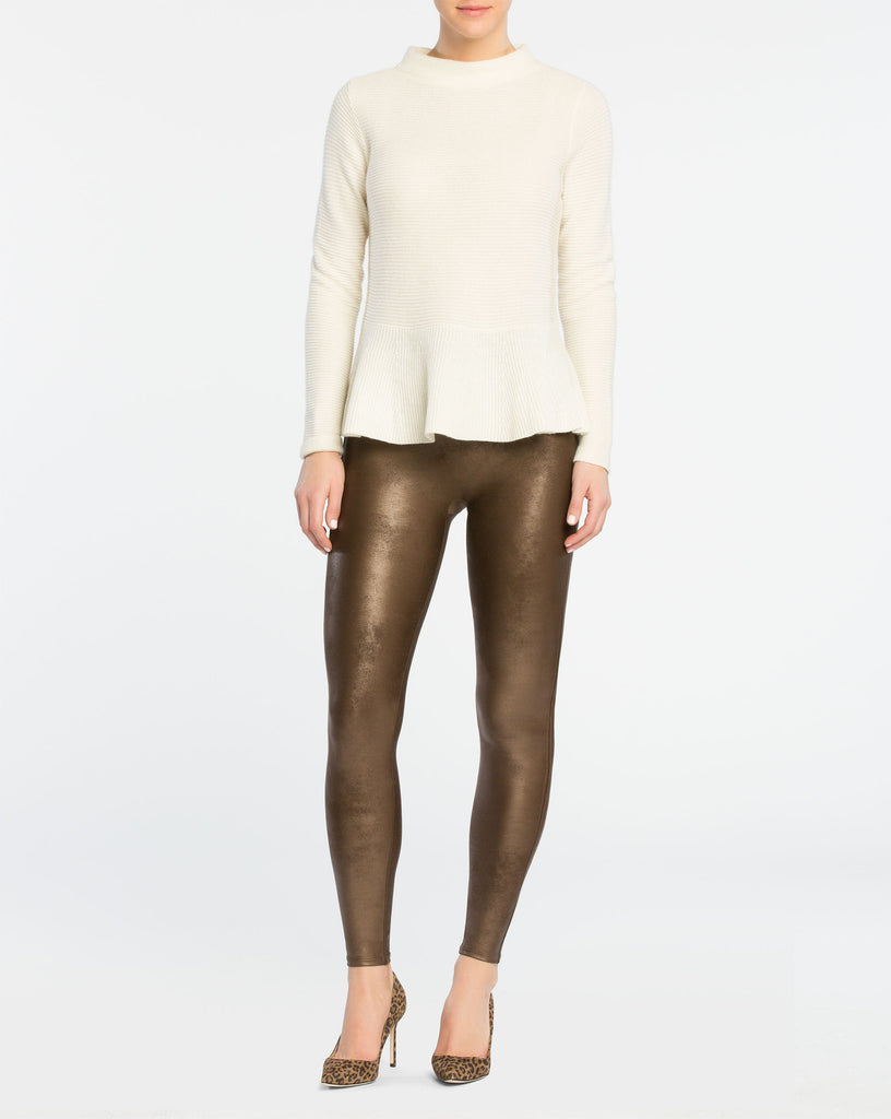 SPANX - Faux Leather Bronze Metal Leggings
