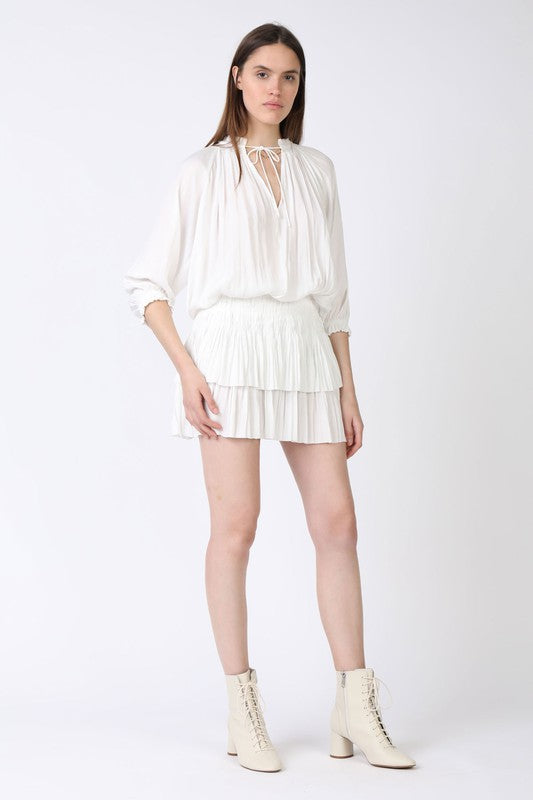 White Pleated Mini Dress