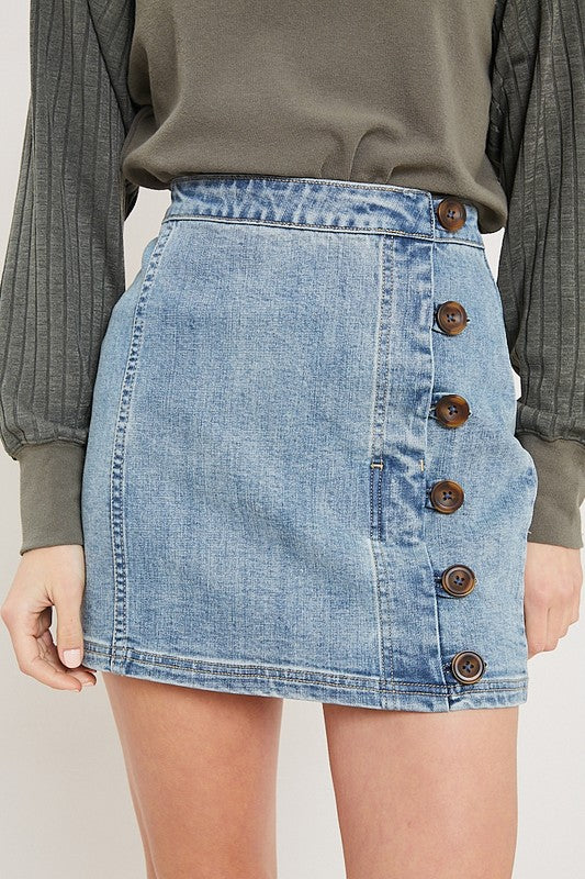 Wishlist Blue Denim Button Skirt