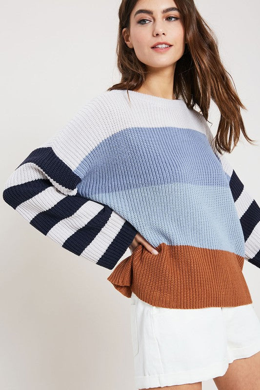 Colorblock Blue Sweater