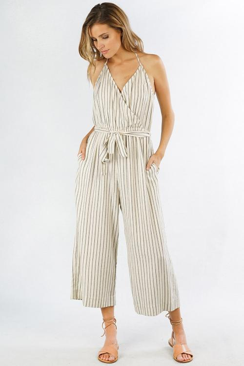 Stripe T-Back Jumpsuit w/ Belt