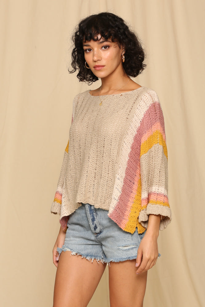 Grey Wide Stripe Arm Sweater