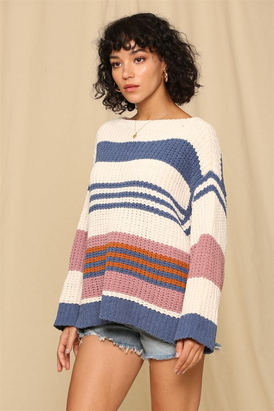 Blue Colorblock Stripe Sweater