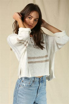 Boatneck Knit Stripe Sweater
