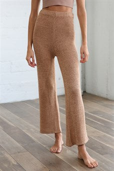 High Waisted Knit Sweater Pant - Golden Yellow