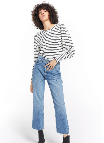 Clemente Striped Puff Sleeve- Vanilla