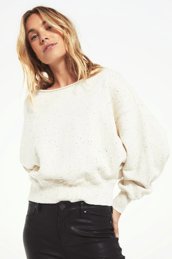 Allie Speckled Sweatshirt- Natural