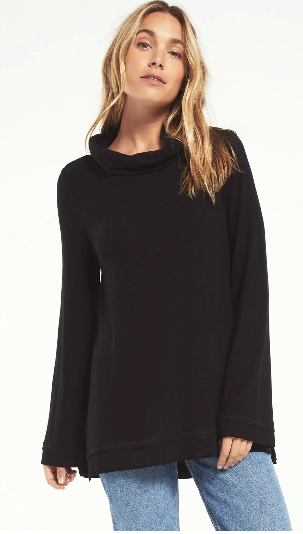 Ali Cowl Slub Sweater- Black
