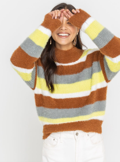 Camel & Lime Cozy Sweater