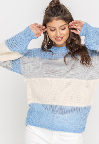 Slouchy Blue Colorblock Sweater