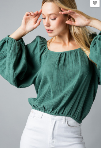 Dusty Sage Square Neck Top