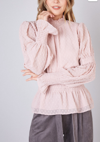 Mauve Smocking Long Sleeve Top