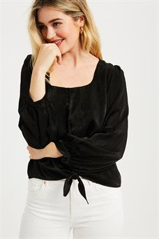 Black Square Neck Button Top