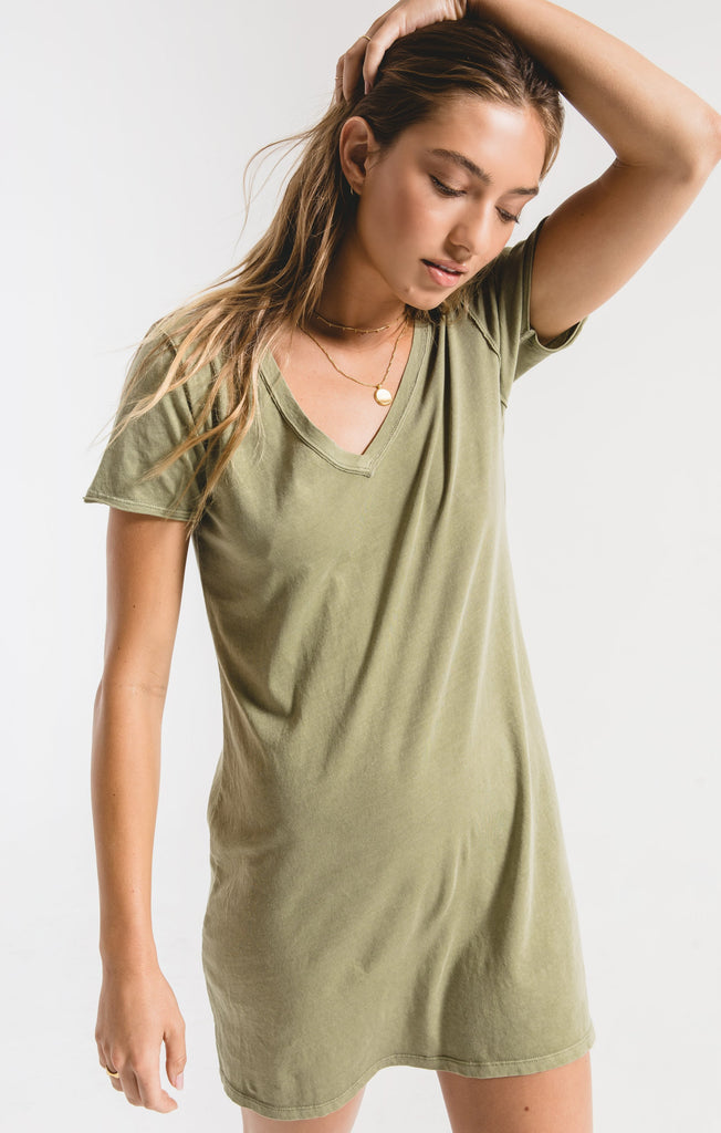 Organic Cotton T-Shirt Dress - Light Sage