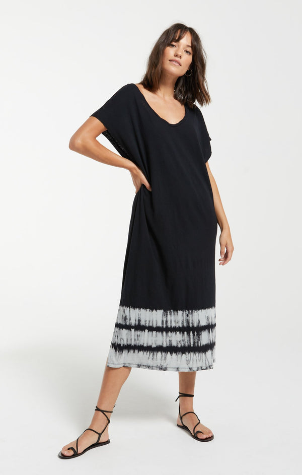 Eden Stripe Tie- Dye Dress - Black