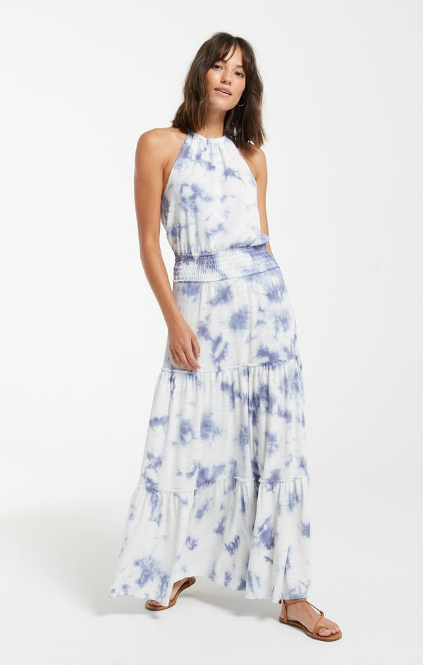 Beverly Cloud Tie-Dye Dress - Dusty Navy