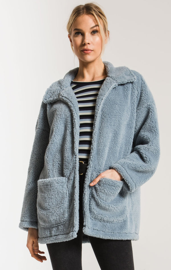 blue sherpa coat