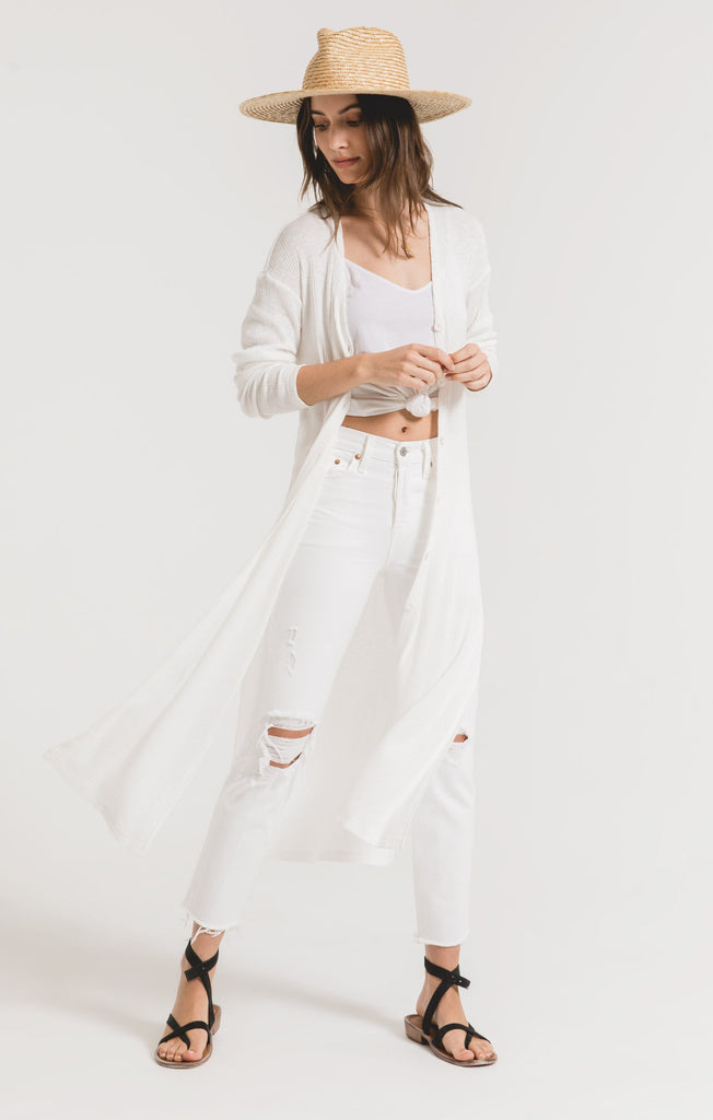 Textured Rib Duster Cardigan - Desert White