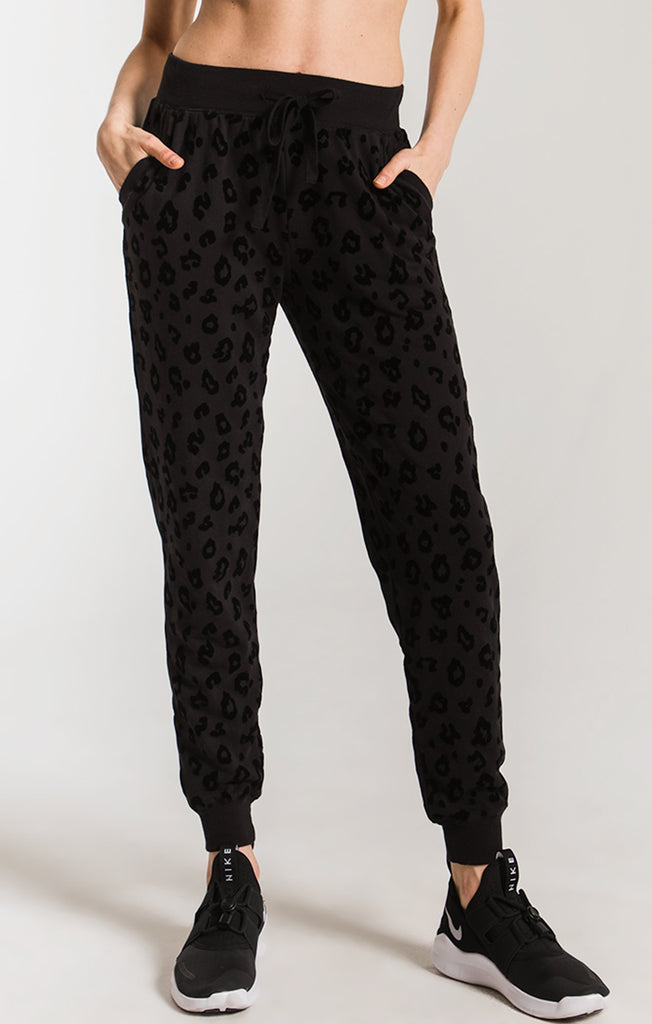 cheetah black joggers