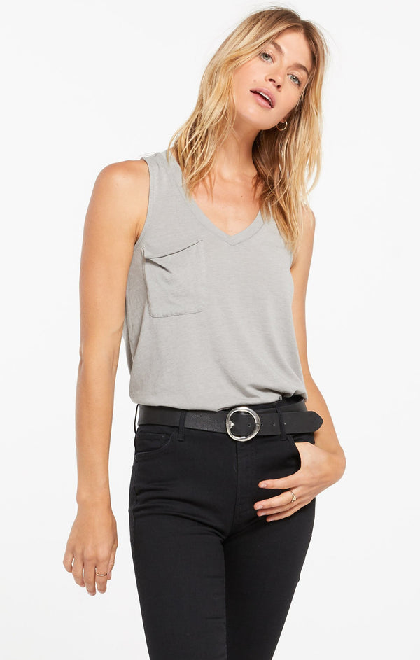 Pocket Racer Tank - Dusty Sage