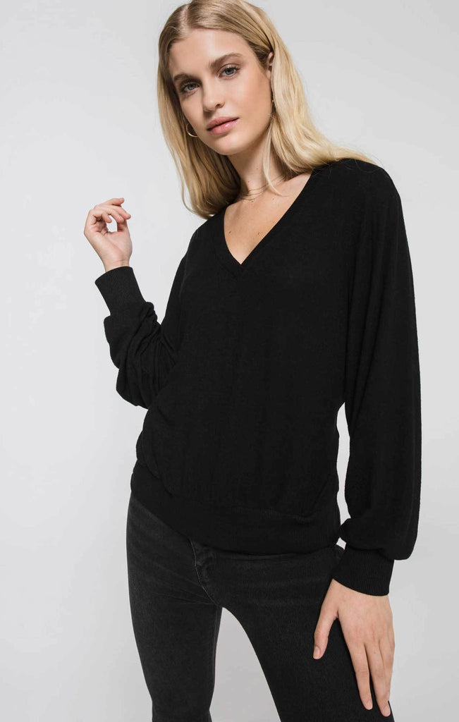Marled Twist Back Top - Black