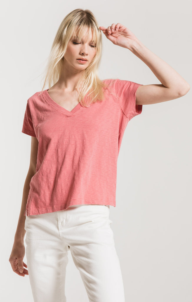 Cotton Slub Easy VNeck Tee - Slate Rose