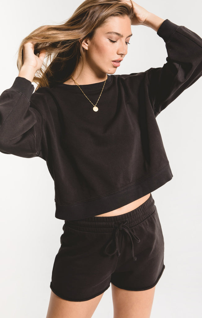 Cotton French Terry Pullover - Black