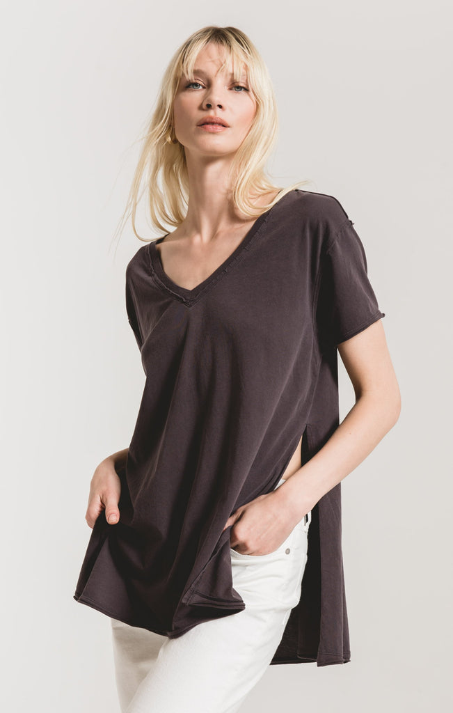 Organic Cotton Side Slit Tunic- Graphite