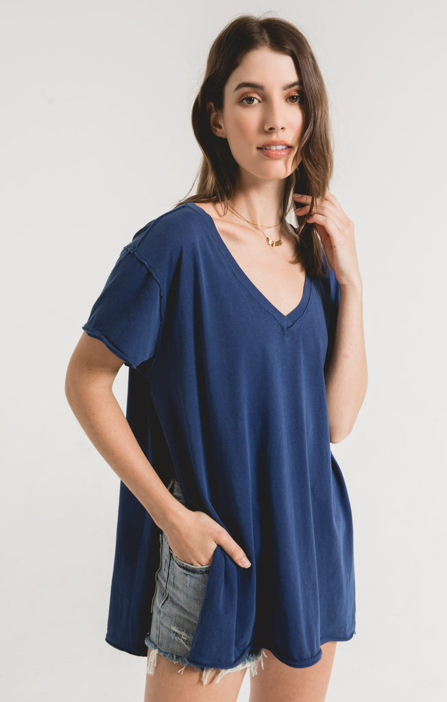 Organic Cotton Side Slit Tunic- Indigo Blue