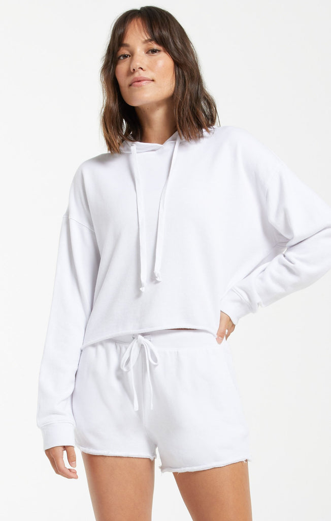 Gia Washed Hoodie - White