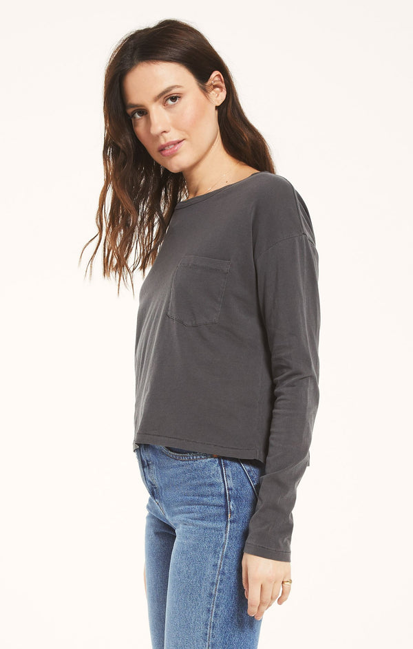 Mina Organic Long Sleeve - Washed Grey