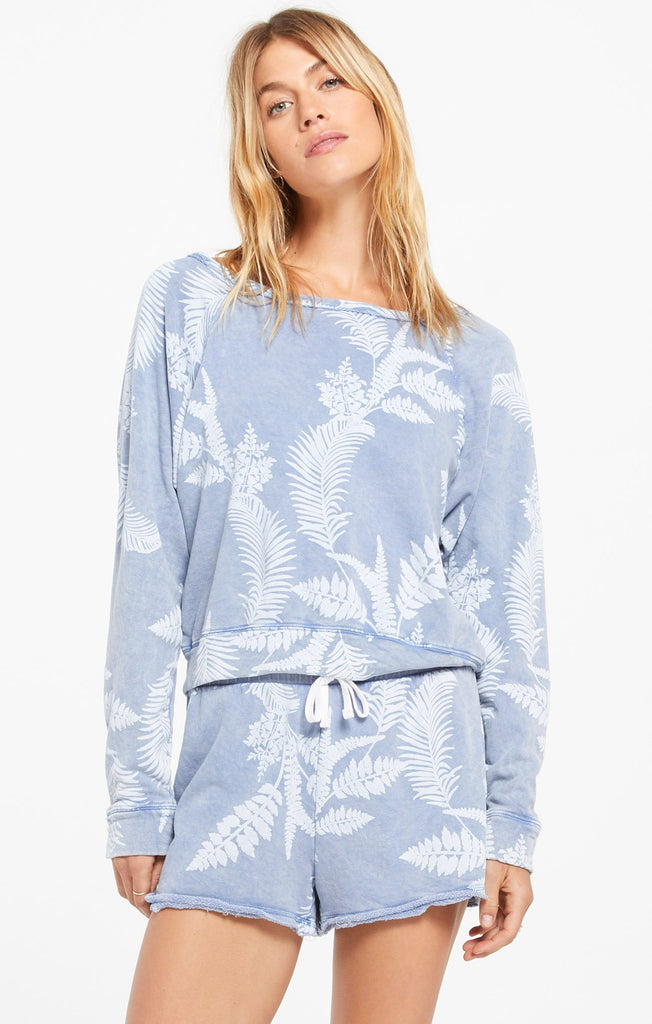 Summer Palm Pullover - Dusty Navy