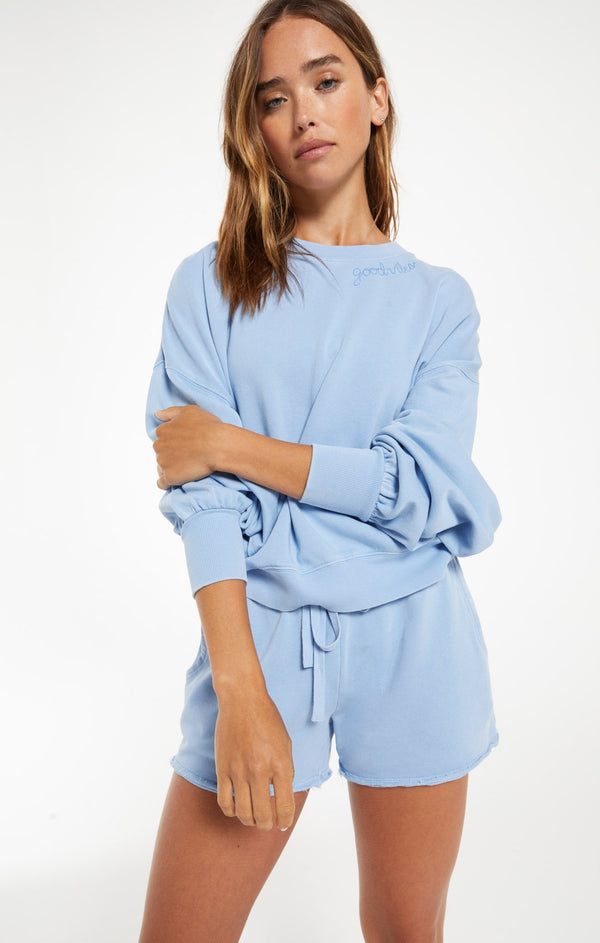 Lia Washed LS Top - Perennial Blue
