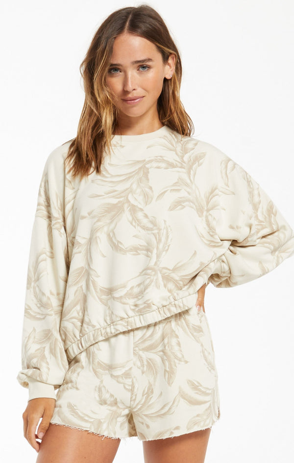Mason Palm L/S Top - Bone