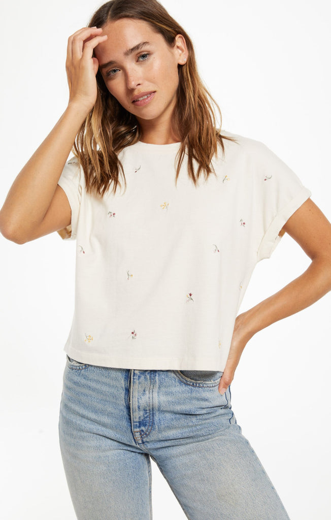 Keely Embroidered Tee- Bone