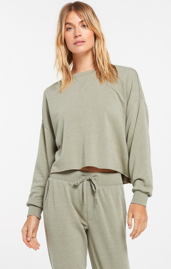 Izzy Loop Terry Top - Meadow Green