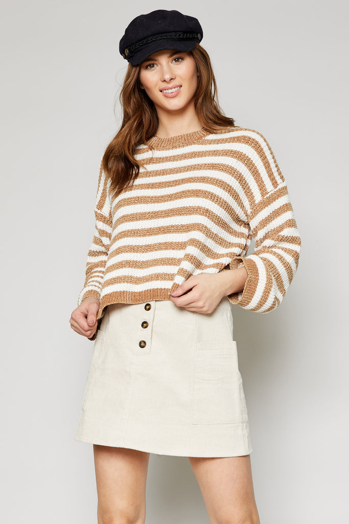Ione Stripe Sweater - Caramel