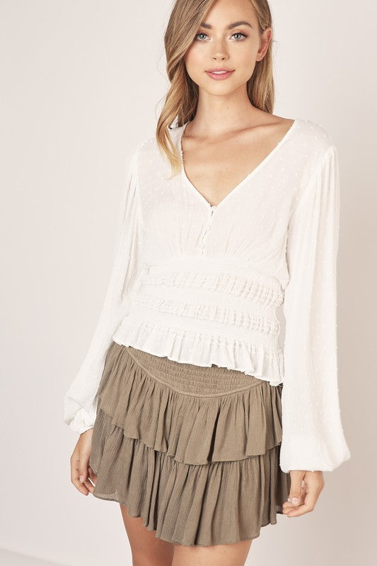 White Smocked V Neck Blouse