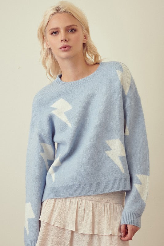 Lightning Bolt Sweater- Blue